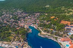 Adriatic landscape - Island Losinj. Aerial panorama of island Veli Losinj in Zadar area, Croatia. Famous tourist attraction Stock Images