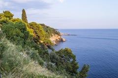 adriatic morza Zmierzch Widok od skały Fotografia Stock