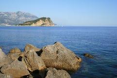 Adriatic sea. Mountain and sea. The seascape of Adriatic sea Stock Photography