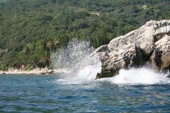 Adriatic sea. The wave and rock (Montenegro, Adriatic sea Stock Images