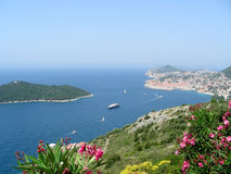 Adriatic sea. View from mountains to Dubrovnik and Lokrum island royalty free stock photo