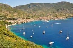 Adriatic Sea. Beautiful Adriatic lagoon with turquoise water, aerial view, Vis island, Croatia stock image