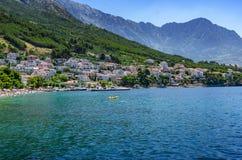 Adriatic Sea beach in the resort town of Brela, Croatia. stock images