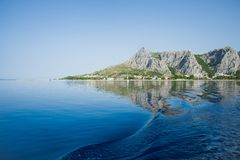 Adriatic sea and beautiful mountains in the morning Royalty Free Stock Photography