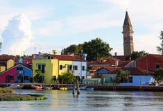 Adriatic sea and the bell tower of BURANO and colored houses Stock Photography