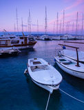 Adriatic Sea and boat. View of Adriatic Sea in Baska Voda Royalty Free Stock Image