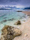 Adriatic Sea and boat. View of Adriatic Sea in Baska Voda Stock Photography