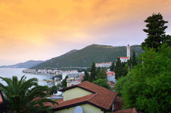 Adriatic Sea coast at dawn. Scenic view of Neum town on Adriatic Sea coast. Neum is Bosnia and Herzegovina only town located on the Adriatic coast, Croatian Stock Photography