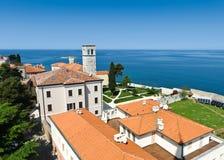 Adriatic sea coast of Porec. Adriatic sea coast of old Croatian town Porec. High angle view. Istria province of Croatia Stock Image