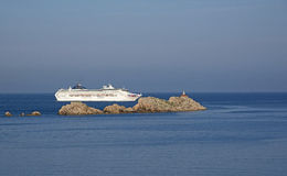 Adriatic Sea a cruise ship off Dubrovnik Croatia Stock Photos