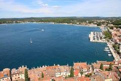 Adriatic sea, Istrian peninsula, Rovinj, Croatia. View north east from the bell tower of Saint Euphemia church to northern part of Rovinj Rovigno on the Istrian stock photos
