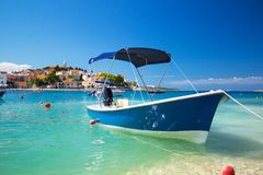 Adriatic sea. Primosten old town with boat moored Royalty Free Stock Photography
