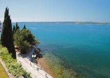 Adriatic sea  and Quay-promenade. Portoroz, Berdardin, Slovenia Royalty Free Stock Photo