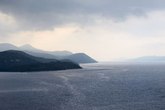 Adriatic sea with rain clouds Royalty Free Stock Photos