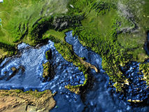Adriatic sea region on Earth at night - visible ocean floor. Adriatic sea region on 3D model of Earth at night. 3D illustration with plastic planet surface and Stock Photography
