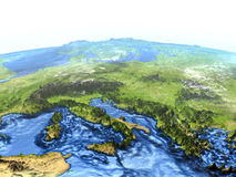 Adriatic sea region on Earth - visible ocean floor. Adriatic sea region on 3D model of Earth. 3D illustration with plastic planet surface and ocean floor Royalty Free Stock Photography