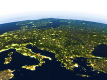 Adriatic sea region at night on planet Earth. Adriatic sea region at night. 3D illustration with detailed planet surface and visible city lights. Elements of Stock Images