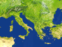 Adriatic sea region on planet Earth. Adriatic sea region. 3D illustration with detailed planet surface. Elements of this image furnished by NASA Stock Images