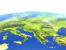 Adriatic sea region on planet Earth. Adriatic sea region. 3D illustration with detailed planet surface. Elements of this image furnished by NASA Royalty Free Stock Photography