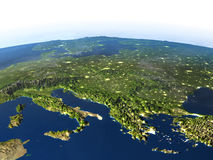 Adriatic sea region on planet Earth. Adriatic sea region. 3D illustration with detailed planet surface and visible city lights. Elements of this image furnished Stock Photos