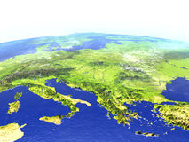 Adriatic sea region on realistic model of Earth. Adriatic sea region on model of Earth. 3D illustration with realistic planet surface. Elements of this image Royalty Free Stock Photo