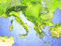 Adriatic sea region on realistic model of Earth. Adriatic sea region on model of Earth. 3D illustration with realistic planet surface. Elements of this image Stock Photography