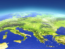 Adriatic sea region from space. 3D illustration with detailed planet surface. Elements of this image furnished by NASA Royalty Free Stock Photography