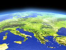 Adriatic sea region from space. Adriatic sea region from Earth's orbit in space. 3D illustration with detailed planet surface. Elements of this image furnished Stock Photos