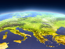 Adriatic sea region from space. Adriatic sea region from Earth's orbit in space. 3D illustration with detailed planet surface, mountains and atmosphere. Elements Stock Image