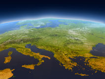 Adriatic sea region from space. Adriatic sea region from Earth's orbit in space. 3D illustration with detailed planet surface, mountains and atmosphere. Elements Royalty Free Stock Photos