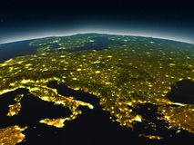 Adriatic sea region from space in the evening. Adriatic sea region in the evening from Earth's orbit in space. 3D illustration with detailed planet surface and Royalty Free Stock Photography