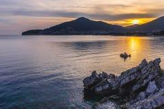Evening in Budva. Adriatic Sea seen from promenade in Budva town, Montenegro Royalty Free Stock Image