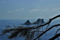 Adriatic Sea small islands, pine-trees silhouette, clean sky landscape of the Mediterranean Region, Montenegro. Adriatic Sea, small island Katic view, pine-trees Stock Photography