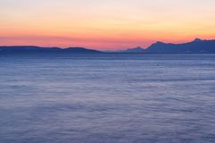 Adriatic sea at sunset in Podgora royalty free stock photography