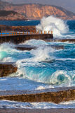 Adriatic sea surf. Fragment of Adriatic coast with a sea surf stock photo