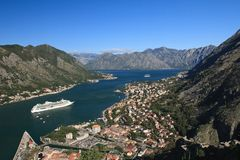 Adriatic sea, transparent water in the Bay of Kotor Stock Images
