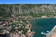Adriatic sea, transparent water in the Bay of Kotor Stock Photography