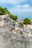 Adriatic sea view at Rovinj, popular touristic destination of Croatian coast Stock Images