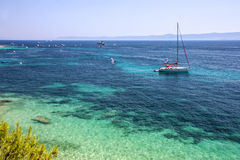 Adriatic sea water, yacht, Croatia, Brac island.  Royalty Free Stock Photography