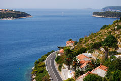 Adriatic seacoast. From above view in summer royalty free stock images