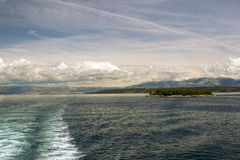 Adriatic seascape with ship trace Stock Photography