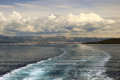 Adriatic seascape with ship trace Royalty Free Stock Photo