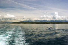 Adriatic seascape with ship trace Royalty Free Stock Images