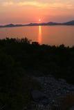 Sunset. Adriatic sunset. Summer sunset in a seaside near Dubrovnik. Sunset skyline royalty free stock photos