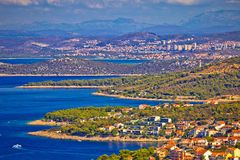 Adriatic tourist destination of Primosten aerial panoramic archi. Pelago view, with cruiser ship, Dalmatia, Croatia Royalty Free Stock Photography