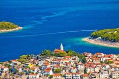 Adriatic tourist destination of Primosten aerial panoramic archi. Pelago view, Dalmatia, Croatia Royalty Free Stock Image