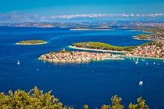 Adriatic tourist destination of Primosten aerial panoramic archi. Pelago view, Dalmatia, Croatia Stock Photography