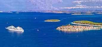 Adriatic tourist destination of Primosten aerial panoramic archi Royalty Free Stock Images