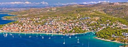 Adriatic tourist destination of Primosten aerial panoramic archi Royalty Free Stock Image