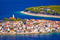 Adriatic tourist destination of Primosten aerial panoramic archi Stock Images